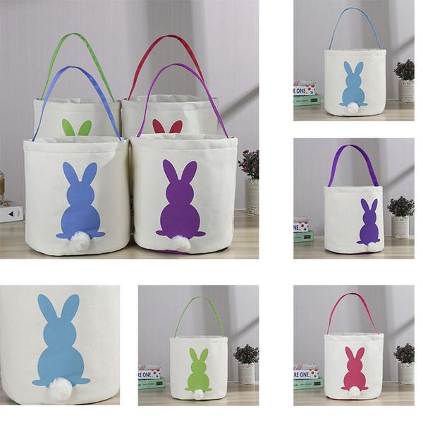 4 Color Canvas Easter Basket Rabbit Ears Good Quality Easter Bag Children Gift Bucket Cartoon Rabbit Egg Bag Decoration Free ship