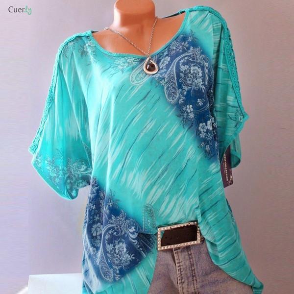 Mode Blouses Automne 5XL Taille Plus Femmes d'été à manches courtes col en V imprimé floral desserrées Tops dentelle Chemises Blouses GHC