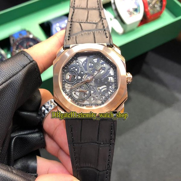 9 Colour New Octo Finissimo 102946 Skeleton Dial Miyota Automatic 28800 Vph Mens Watch Rose Gold 316L Steel Case Leather strap Sport Watches