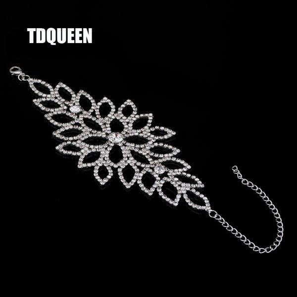 ashion Jewelry Bracelets TDQUEEN Bridal Bracelet Wedding Party Arm Jewelry Silver Color Luxury Crystal Rhinestone Wide Slave Cuff Bangles...