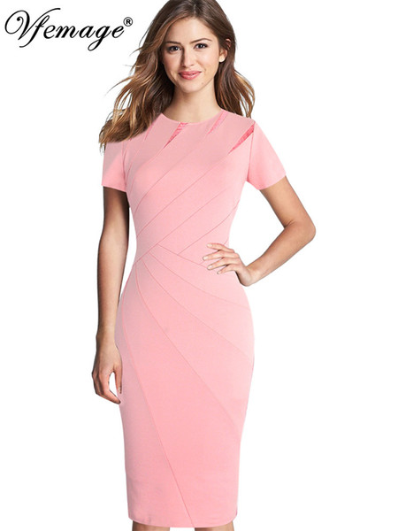 Vfemage Womens Autumn Winter Elegant Patchwork Slim Casual Work Business Office Party Fitted Bodycon Pencil Sheath Dress 1045 T3190612