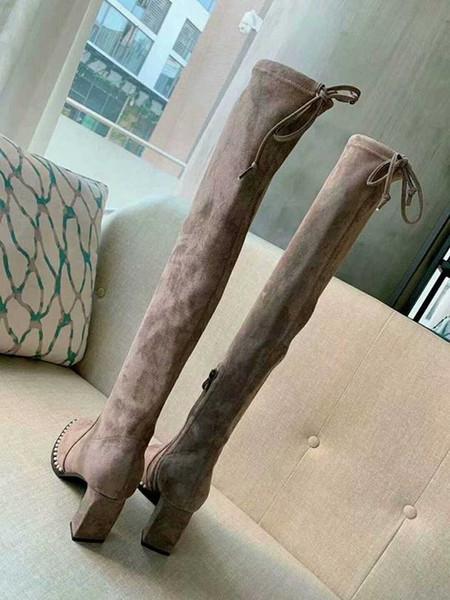 Automne et hiver nouveau cuir en daim sur les bottes du genou partie de luxe haut de gamme de la mode dames d'hiver long tube bottes bottes élastiques de taille 35 à 40