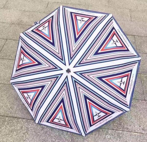 Venda quente! 2017 Luxo Clássico Padrão Logotipo Do Avião Umbrella Para As Mulheres 3 Dobras de Luxo Guarda-chuva com Caixa de Presente E Saco de Presente VIP