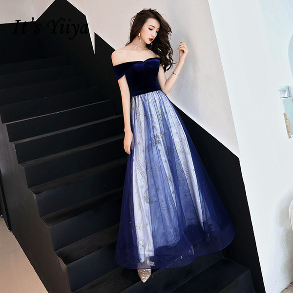 It's YiiYa Evening Dress Sexy Off Shoulder Beautiful Stars Embroidery Floor length Party Gown Lace Up Formal Dresses