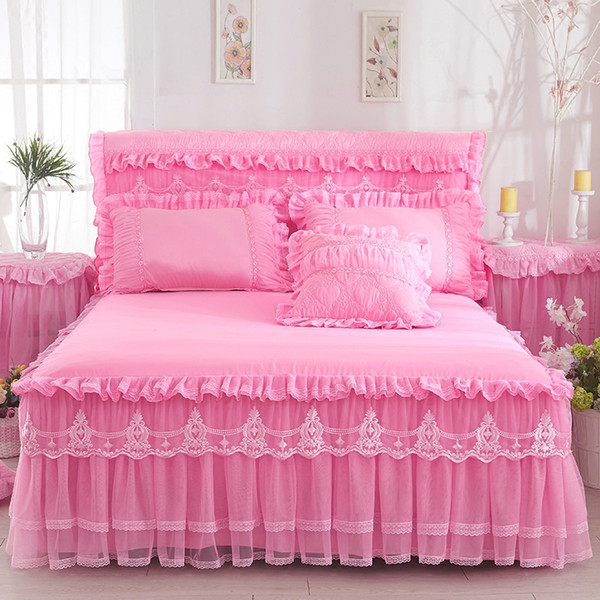 Lace Bed Skirt +2pieces Pillowcases bedding set Princess Bedding Bedspreads sheet Bed For Girl bed Cover King/Queen size