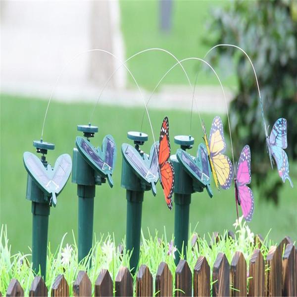 2 Stück Solar Flatternde Dancing Garden Stake Outdoor Vogel Schmetterling