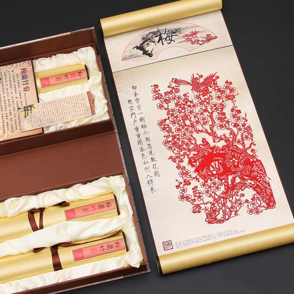 Paper-cut painting Chinese style folk handmade silk painting hanging gift boxes with Chinese characteristics small gifts