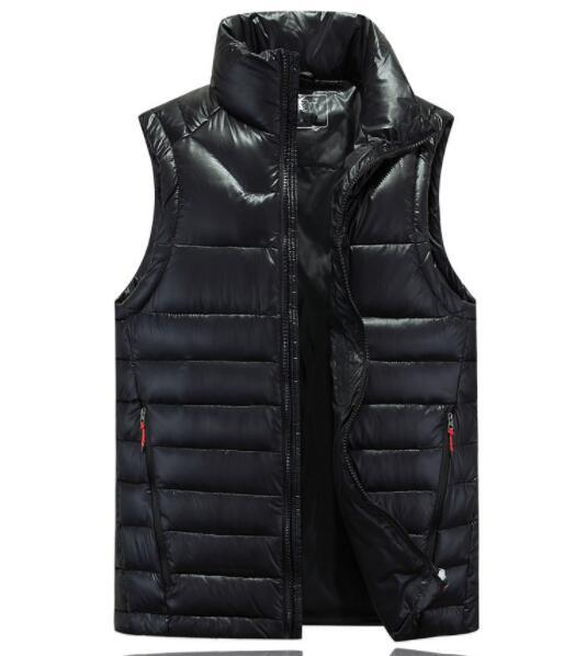 Winter Mens Down Vest Solid Color With Pockets Stand Collar Waistcoat waterproof Windproof Outdoor Coat White Duck Down vest