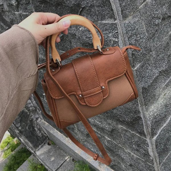Vintage hand bag with wooden handle handbag Fashion Scrub shoulder messenger bag ladies high quality Casual Crossbody Bags sac