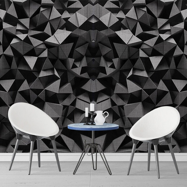 Custom Mural Wallpaper 3D Stereo Geometry Black Cloth Pattern Wall Painting  Living Room TV Bedroom Creative Art Background Wall Hd Wallpaper Hd ...