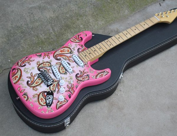 2019 new Factory Pink Electric Guitar with Black Hardcase,Flower Fret Pattern,SSS Pickups,Maple Neck,Chrome Hardware,Can be customized
