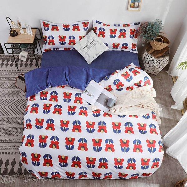 Simple Classic Queen bedding set 5 size bed linen 4pcs set duvet cover set Pastoral bed sheet side duvet cover black