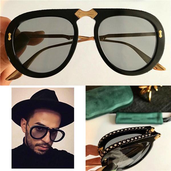 Luxo-Novo designer de moda óculos de sol 0307 piloto quadro de acetato dobrável com diamante verão estilo Avant-garde popular uv 400 lente