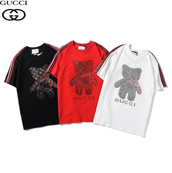 Top calidad algodón oso estampado de diamantes de imitación T-shirt Hombres Mujeres camisetas Casual con cuello O tops unisex Nuevo logotipo de la letra de vuelta Mujer Camisetas