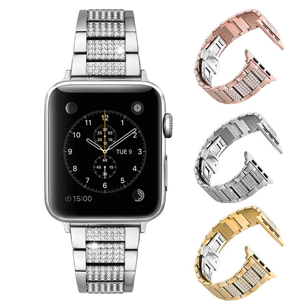 Luxurious Copper Strap for Apple Watch Band Bling Bling Diamond Design Replacement Watchband for iWatch 4/3/2/1 Smart Watch Bracelet 40mm