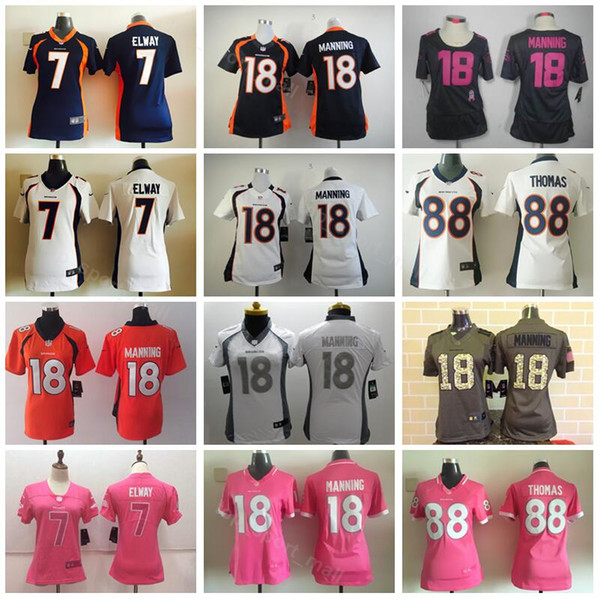 new arrival 97916 43d62 2019 Denver Women Broncos Jerseys Football 7 John Elway 18 Peyton Manning  88 Demaryius Thomas Lady Jersey Woman Navy Blue White Orange Green From ...
