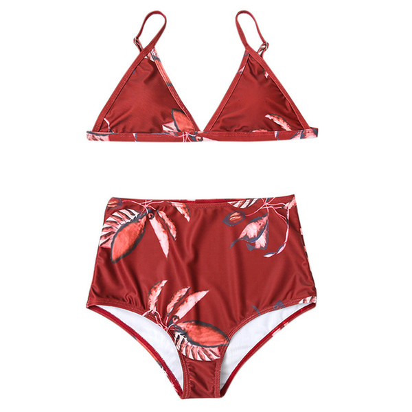 2019 NEW Female Split swimsuit Biquini Women's red Print Floral Swimwear Two-piece Padded High Waist Beachwear 30#