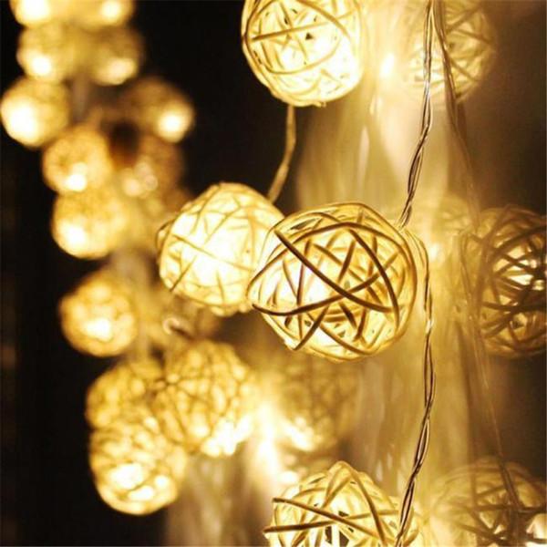 2,2 Mt 20 Led Rattan Ball Fairy String Dekorative Lichter Batteriebetriebene Weihnachten Outdoor Patio Garland Hochzeitsdekoration