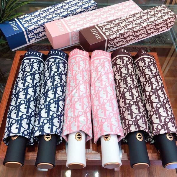 Stampa Lettera automatico antivento ombrello di modo Protezione UV Soleggiato Ombrello delicato pieghevole Rainy ombrello per le signore