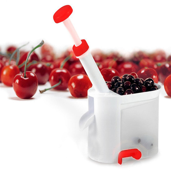 New Novelty Super Cherry Pitter Stone Corer Remover Machine Cherry Corer With Container Kitchen Gadgets Tool Easy Removal Core