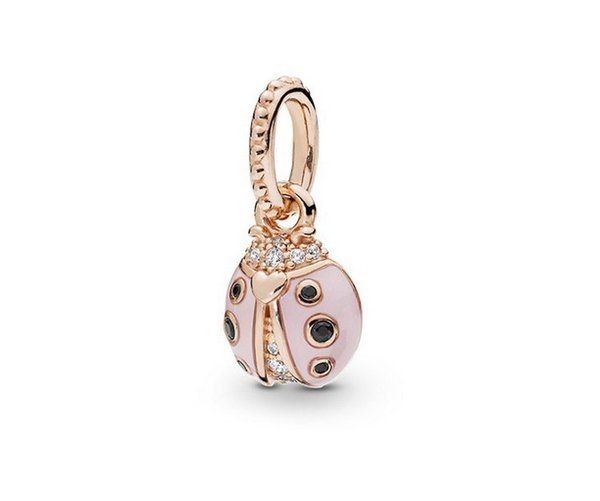 Fit Pandora Charm Bracelet European Silver Bead Charms Pink Ladybug Dangle 925 Beads DIY Snake Chain For Women Bangle & Necklace Jewelry