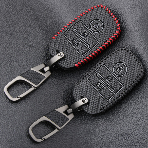 Carbon Fiber Style Leather Car Remote Key Fob Shell Cover Case For Kia Rio Ceed Soul Sportage Sorento Carens Picanto Skin Holder