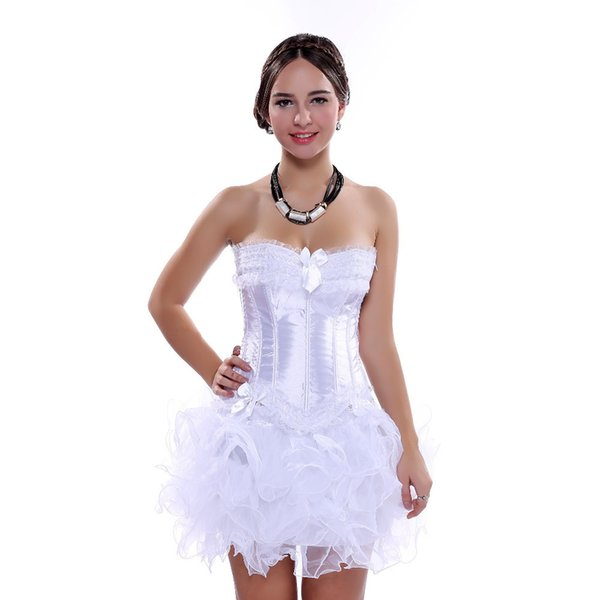 Carnival Party Sexy Satin Lingerie Corset And Bustier Mini Tutu Petticoat Skirt Fancy Wedding Dress Costume S-6xl J190701
