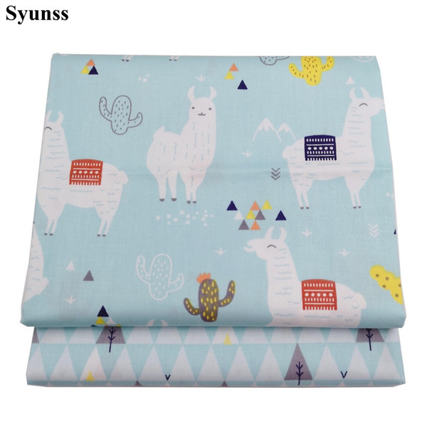 Syunss Blue Cartoon Alpaca Printed Cotton Fabric DIY Handmade Sewing Patchwork Baby Cloth Bedding Textile Quilting Tilda Tissus