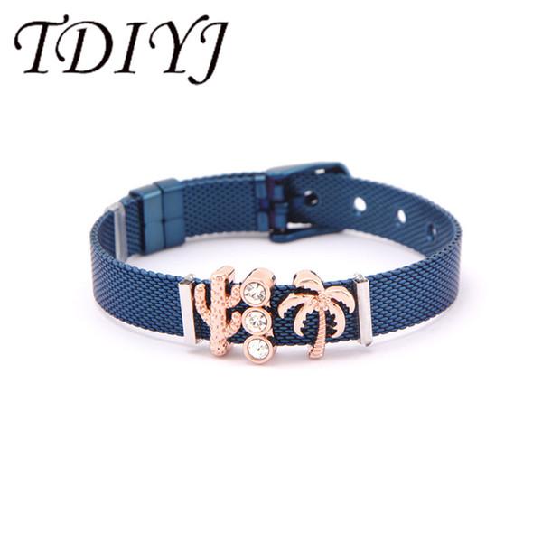 TDIYJ Fashion Colored Stainless Steel Mesh Bracelet Beach Cactus Coconut Tree For Men Women Gift 1Set
