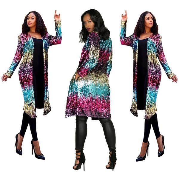 Плюс размер женская роскошь сегментные блестки длинное пальто Европейский и американский женский повседневная Беговая одежда мода пальто куртка TS681