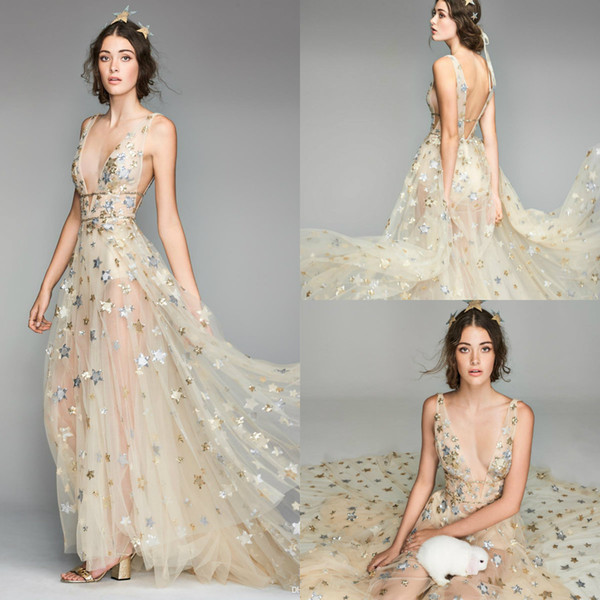 2019 Fairy Prom Dresses Sequins Star Deep V Neck Sweep Train Sleeveless Formal Dress Party Evening robes de soirée Plus Size Evening Gown