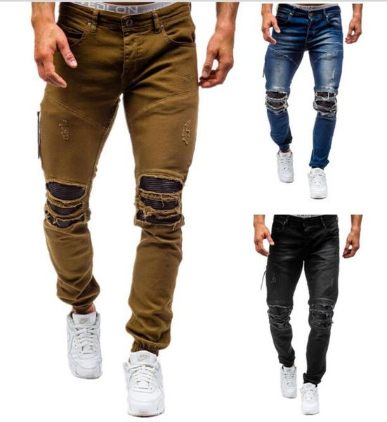 New fashion Men's denim nostalgic jeans New foreign trade men's washed hole trousers cotton trend jeans 3 colors