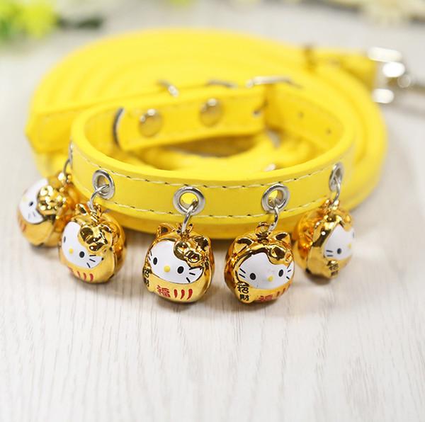 Chinesische Grüße Heimtierbedarf Reichtum Glück Katze Hund Rosa Halsbänder Tierform Glocke Leinen Niedlichen Zugseil