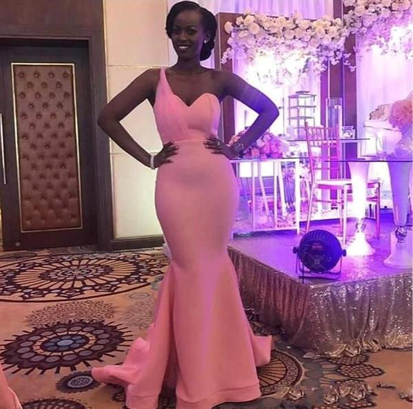 Дешевые Черная Девушка Розовый Одно Плечо Русалка Платья Выпускного Вечера Вечерние Платья На Заказ Южной Африки