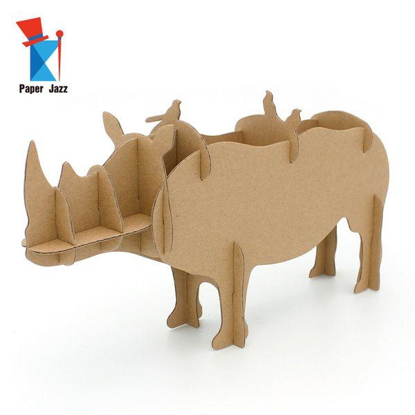 Yaratıcı Çocuklar Ebeveynler DIY 3D Kağıt Masaüstü Saklama Kutusu hayvan bulmaca modeli saklama kutusu çocuklar için en iyi oyuncaklar