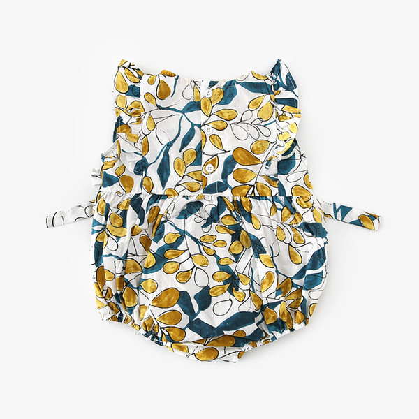ropa para bebés mameluco sin mangas con cuello en O Flores estampado de piña 100% algodón mameluco para bebés Ropa para bebés y niños