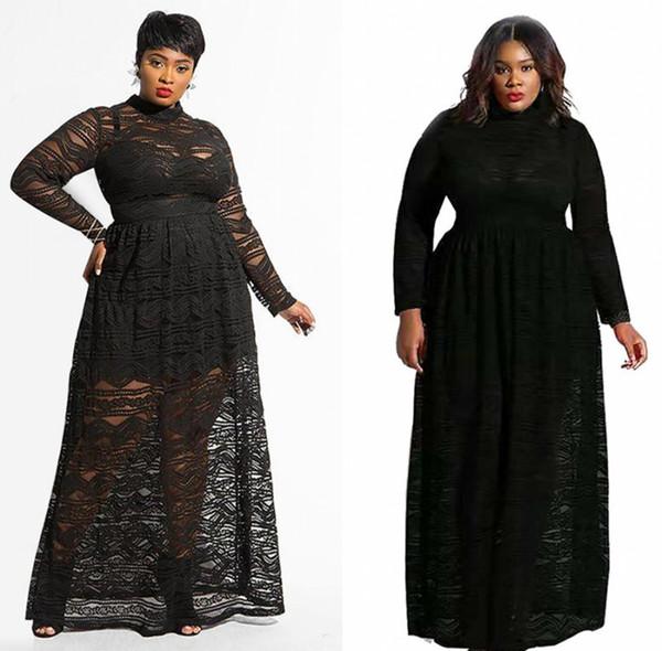 Plus Size Black Lace Abendkleider 2019 Vintage Lange Ärmel Arabisch Modest Damen Kleidung Kostenloser Versand FS5346