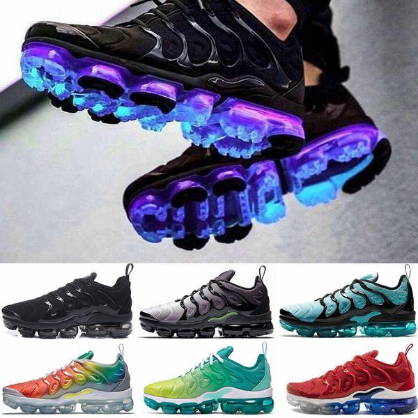 best supplier super cute crazy price new air vapormax plus tn mens running shoes triple black white ...