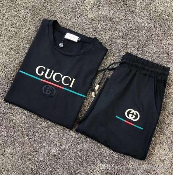 Tee-shirt d'été pour hommes Version coréenne de la tendance sportive Décontracté Pantalon en deux pièces de costume pour hommes