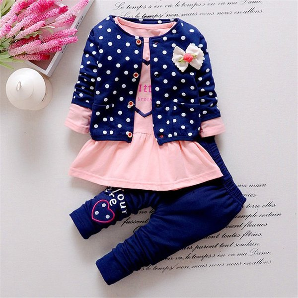 good quality Spring Autumn Baby Girl clothing Sets 3PCS coat+ longsleeve +Pants suit toddler girls casual clothes costume sets