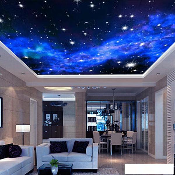 Toptan-İç Tavan 3D Samanyolu Yıldız Duvar Kaplama Özel Fotoğraf Duvar Duvar Kağıdı Salon Yatak Odası Koltuk Arkaplan Duvar Kaplamaları