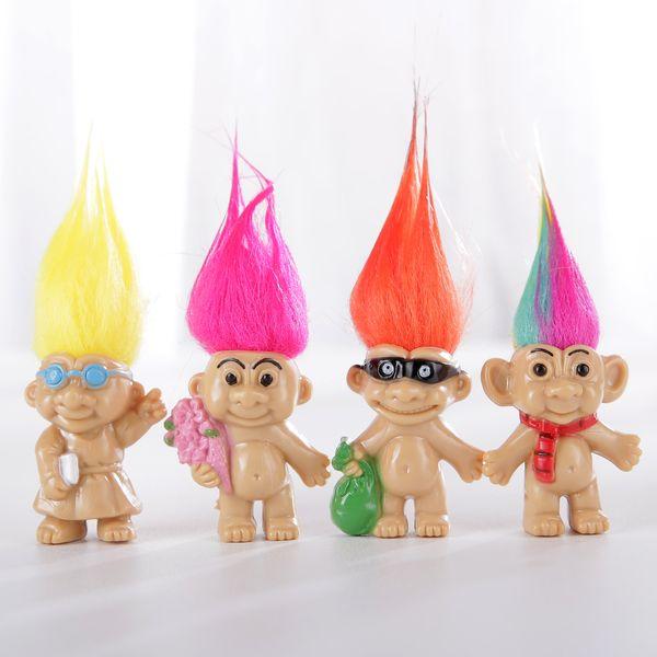 SıCAK Satış Renkli Saç 8 Troll Bebekler Aile Üyeleri Baba anne Erkek Bebek Kız Baraj Trolls Oyuncak Hediye Mutlu Aşk Aile