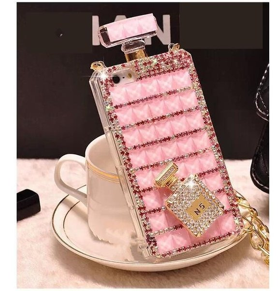 Case for iPhone 6s 7 7plus 8 8 plus x xs Perfume Bottle Diamond Mobile Phone Cover Lanyard Case for samsung Rhinestone Mobile Phone Case