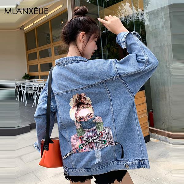 Autumn Denim Jackets Women Harajuku Portrait Print Beading Denim Coat Streetwear Single-Breasted Outerwears Korean Jeans Jacket