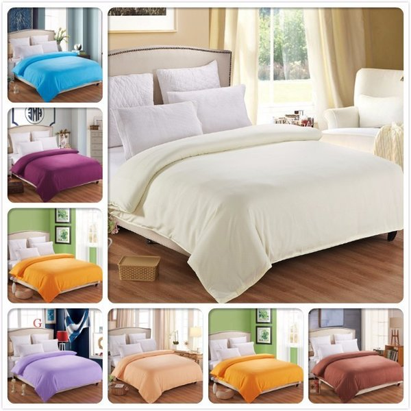 Beige 1 piece Duvet Cover Plain Pure Color Bedding Bag High Quality Soft Cotton Quilt Comforter Case Single Twin Queen King Size