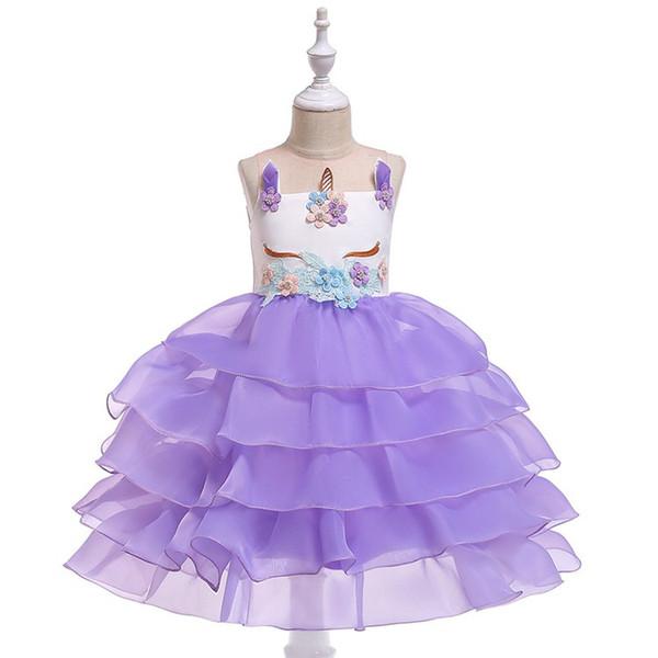 Euroamerikanische grenzüberschreitende Mädchenkleider Einhorn-Schirm-Prinzessin Pengpeng Evening Show Dresses Blumenmädchen-Brautkleider Rock