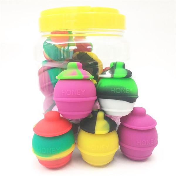 20pcs / Can 35ml Miel Jars Containers En Gros Mixte Cire En Silicone De Couleur Conteneur Pour Dab Silicone Conteneurs Dab Bocaux Contenants Fumeurs