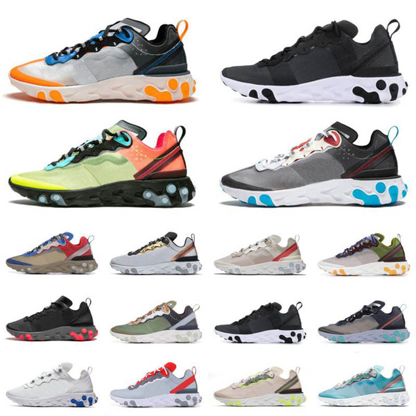 best selling Undercover React Element 87 55 Hyper Fusion Black Red Solar Red Triple Black Mens Womens Shoes Upcoming Total Orange Moss Designer Sneakers