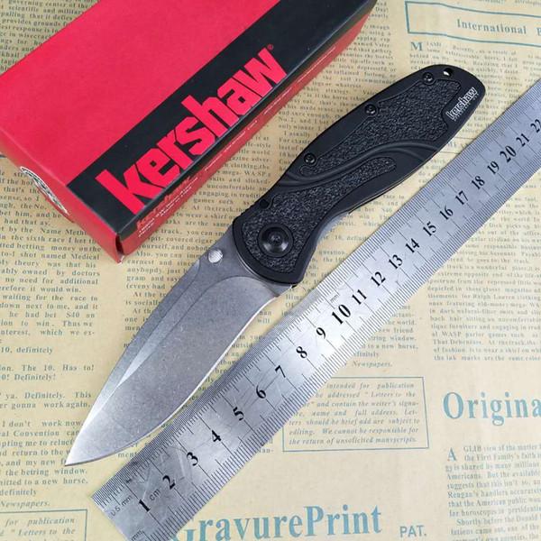 Kershaw 1670 Cuchillo de hoja plegable D2 Punto de caída Piedra de lavado T6061 Mango de aluminio con caja original al por menor