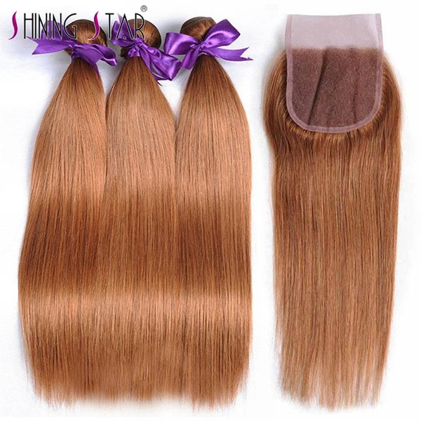 Straight Hair Bundles With Closure Ombre Blonde 30 Brazilian Human Hair Weft 3 Bundles With Closure Shining Star Nonremy Thick Bundle